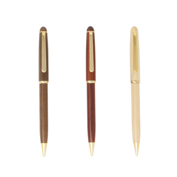 medium sized solid wooden ballpoint pen with gold accents