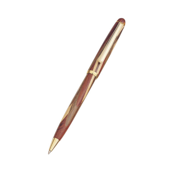 Medium Sized Ballpoint Pen with an Inlaid Rosewood, Maple, and Walnut Barrel