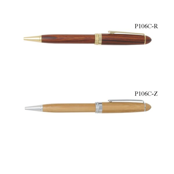 Solid Rosewood Finish or Bamboo Ballpoint Pen with Gold Accents