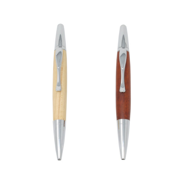 Stylish Solid Wooden Pen with Chrome Accents