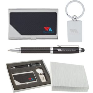 Carbon Fiber Pen, Business Card Case and Chrome Keyring Set