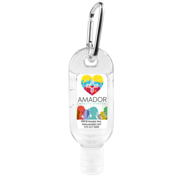 """SanGo L"" 1.8 oz Hand Sanitizer Antibacterial Gel in Flip-Top Bottle with Carabiner(PhotoImage Full Color"