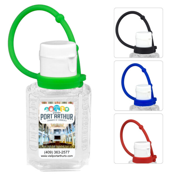 """""""SanPal Connect"""" 1.0 oz Compact Hand Sanitizer Antibacterial Gel in Flip-Top Squeeze Bottle with Colorful Silicone Leash"""